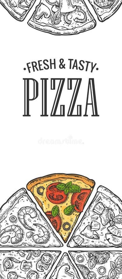 Plakat z plasterek pizzy Pepperoni, hawajczyk, Margherita, meksykanin, owoce morza, Capricciosa ilustracji