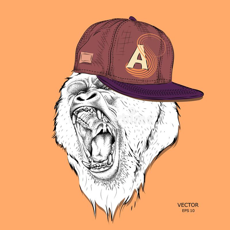 Plakat z portretem małpa w Hip-hop nakrętce Lider paczka goryle agresywna małpa również zwrócić corel ilustracji wektora ilustracji