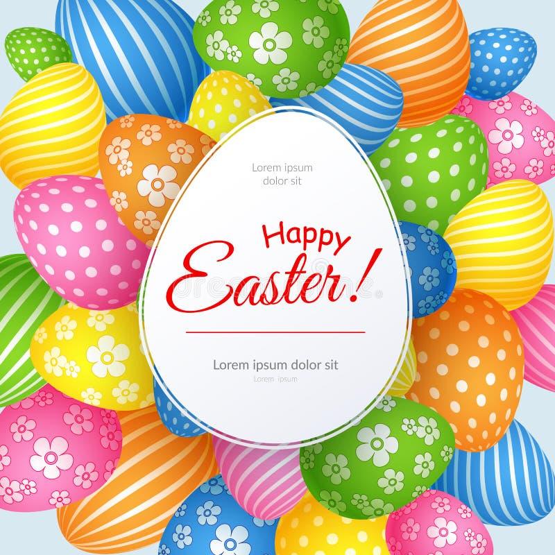 Plakat z tekst Szczęśliwą wielkanocą na tle dekoracyjny barwiony Wielkanocnych jajek Kreatywnie szablon dla reklamowych kart royalty ilustracja