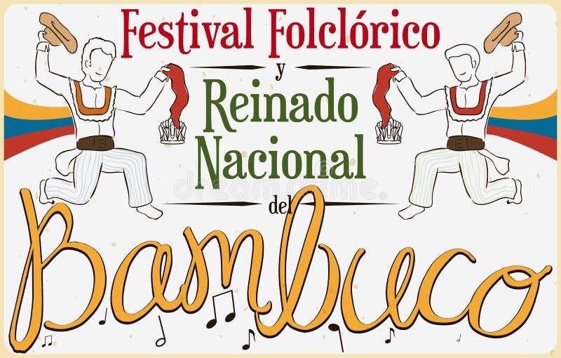 Plakat z Tradycyjnym Bambuco tana pokazem dla Kolumbijskiego Ludoznawczego festiwalu, Wektorowa ilustracja ilustracji