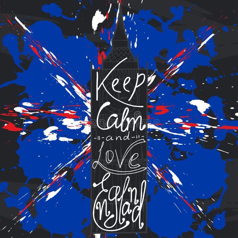 Plakat z typographical zwrota utrzymania spokojem Anglia miłością i ilustracja wektor