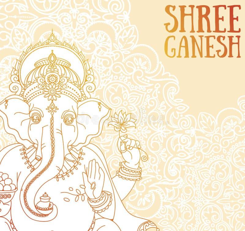 Plakat z władyką Ganesha, może używać jak karta dla świętowania Ganesh Chaturthi ilustracja wektor