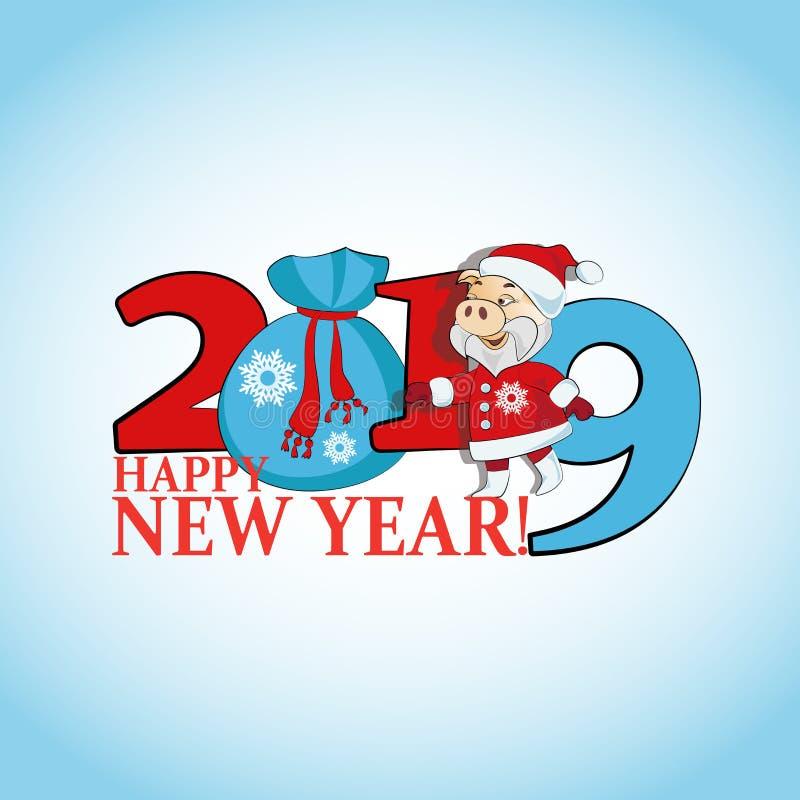 Plakat z wpisowy 2019 i śmieszny Santa z torbą prezenty royalty ilustracja