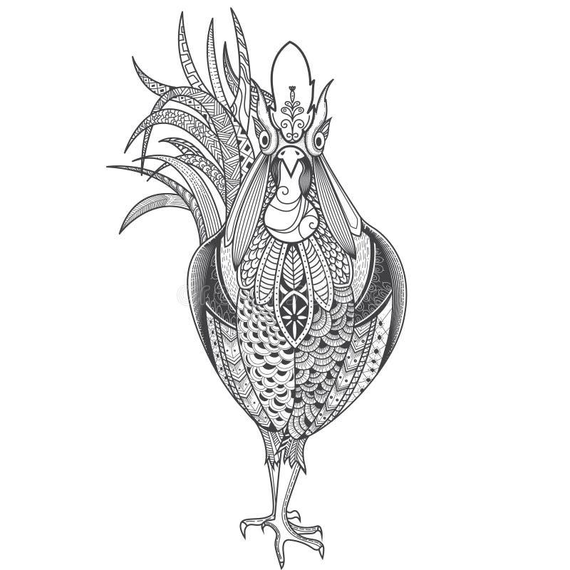 Plakat z wzorzystym kogutem royalty ilustracja