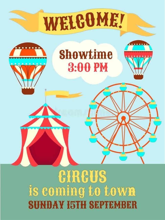 Plakat-Zirkus kommt zur Stadt vektor abbildung