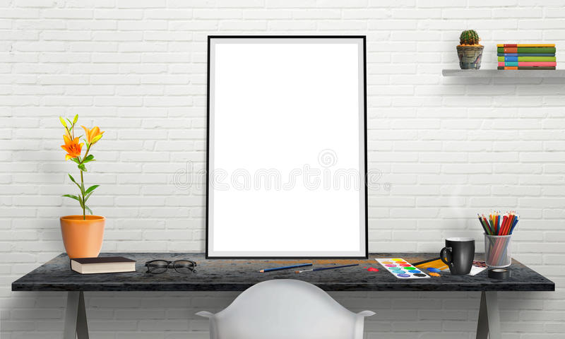 plakata laptop na biurowym biurku dla mockup i rama ilustracji