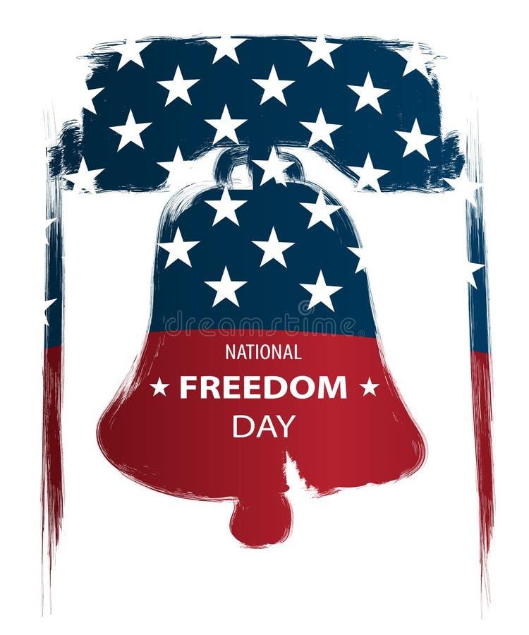 Plakata lub sztandarów †na Krajowym wolność dniu '! - Luty 1st usa flaga jako tło i Liberty Bell sylwetka ilustracja wektor