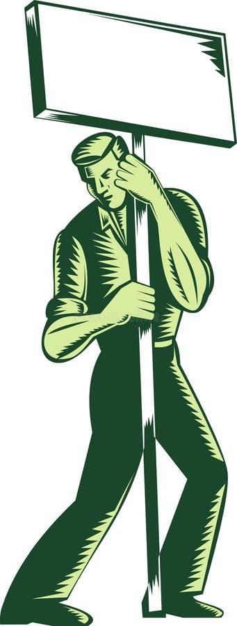 plakata pracownik protestujący szyldowy ilustracja wektor