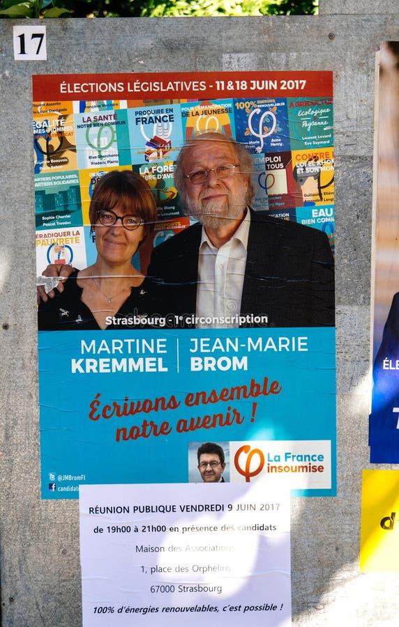 Plakata prawodawczego wybory Francuski los angeles Francja Insoumise zdjęcia royalty free