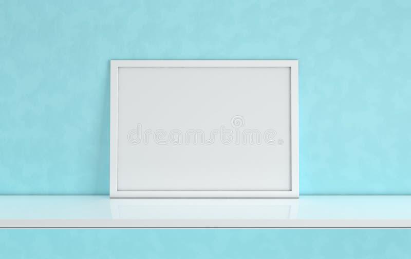 Plakata ramowy mockup z puste miejsce kopii przestrzenią na błękitnym tle Frontowego widoku fotografii rama na białej książkowej  ilustracja wektor