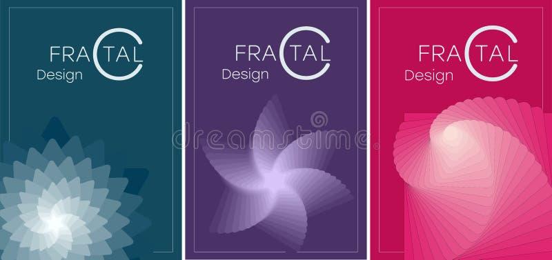 PLAKATA 10 A set broszurki z geometrycznymi fractals royalty ilustracja