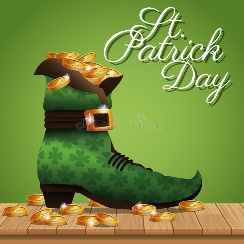 Plakata st Patrick dnia złocistych monet but ilustracja wektor