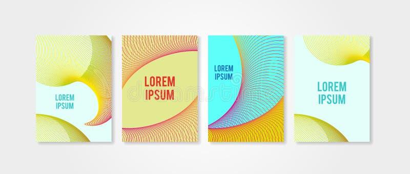 Plakatabdeckungen eingestellt mit Kreisformen 5 Moderner Hippie Trendly und Memphis-Hintergrundfarben lizenzfreie abbildung