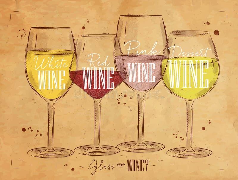 Plakatarten des Weins Kraftpapier lizenzfreie abbildung