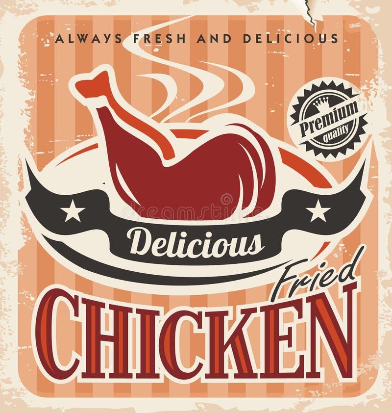 Plakatdesign der Weinlese gebratenes Hühner lizenzfreie abbildung