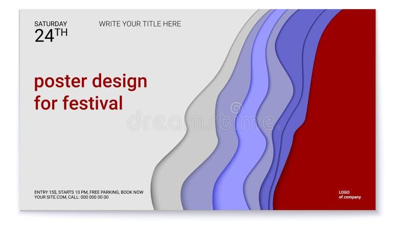 Plakatdesign für Festival Abstraktes Muster mit Papierschnittdesign Realistisches multi Schichtschnitzen des Papiers Das Symbol lizenzfreie abbildung