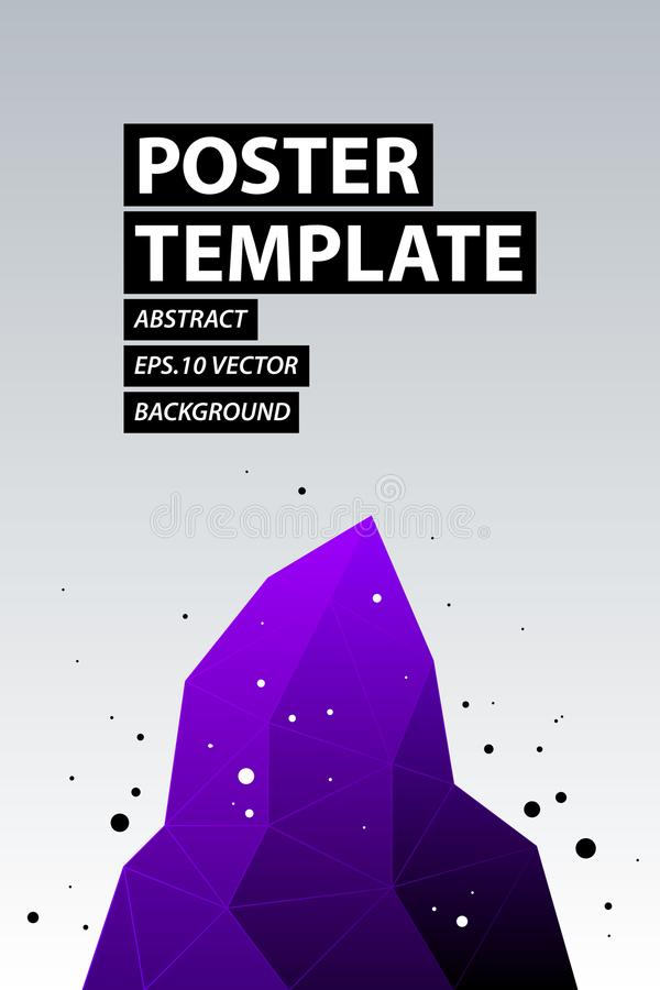Plakatdesign mit dunklem violettem Kristall in der modernen Minimalismusart vektor abbildung