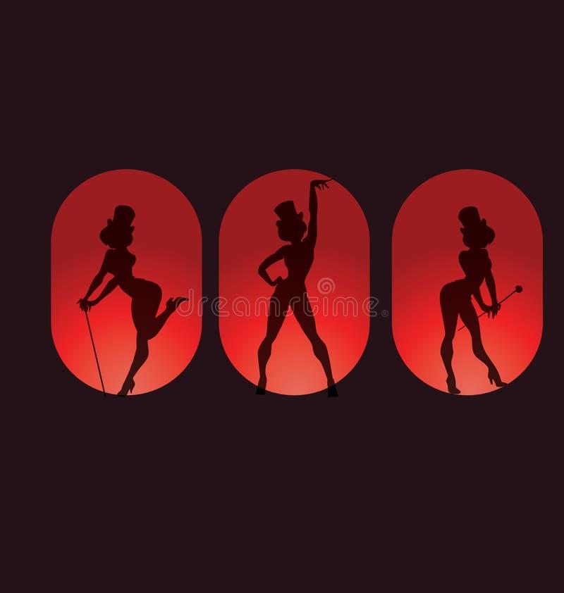 Plakatdesign mit Schattenbildkabarett Burlesque lizenzfreie abbildung