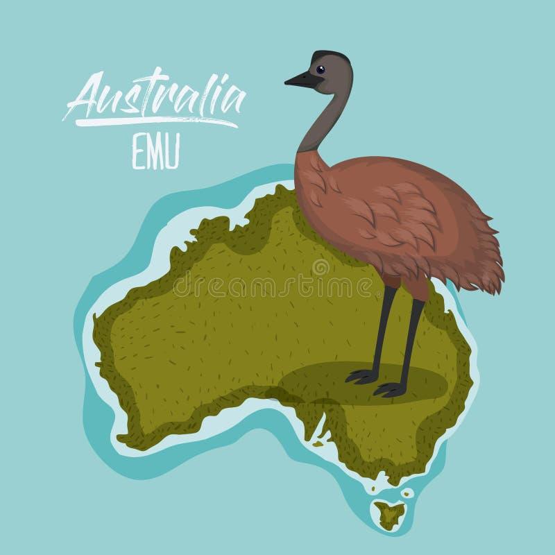 Plakatemu in Australien-Karte im Grün umgeben durch den Ozean stock abbildung