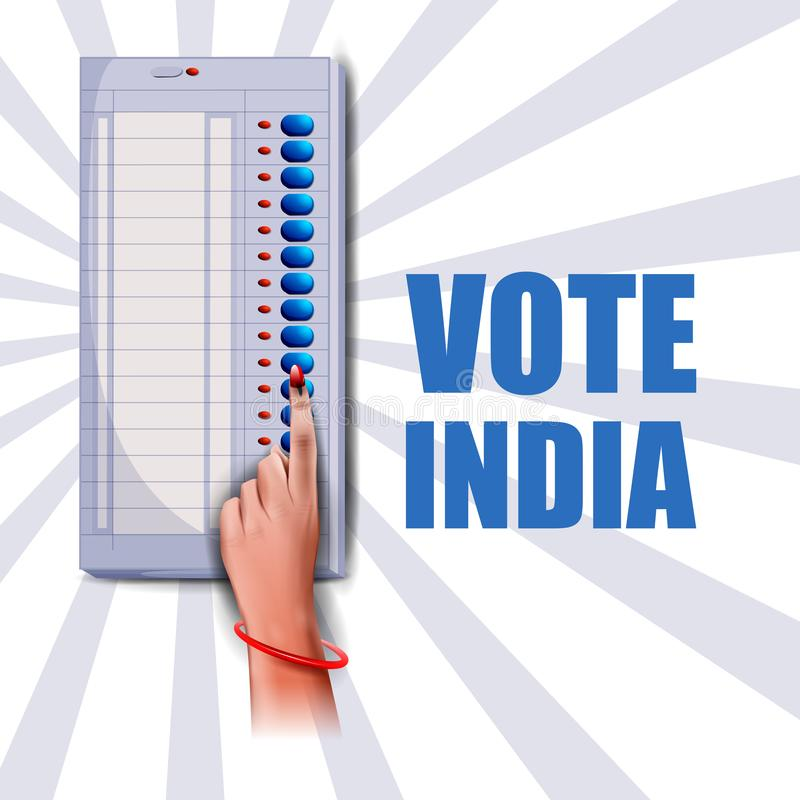 Plakatfahnen-Showhand von indischen Leuten für Wahl- und Abstimmungswahlkampagne von Indien lizenzfreie abbildung