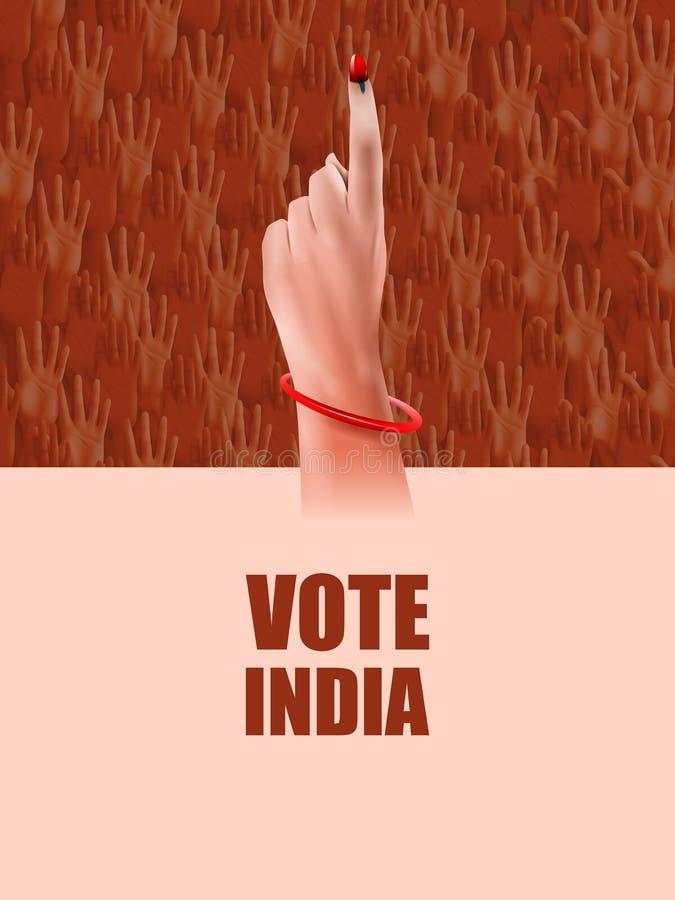 Plakatfahnen-Showhand von indischen Leuten für Wahl- und Abstimmungswahlkampagne von Indien stock abbildung