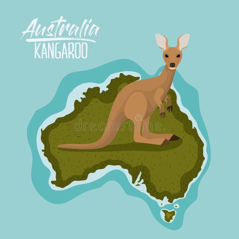 Plakatkänguruh in Australien-Karte im Grün umgeben durch den Ozean vektor abbildung