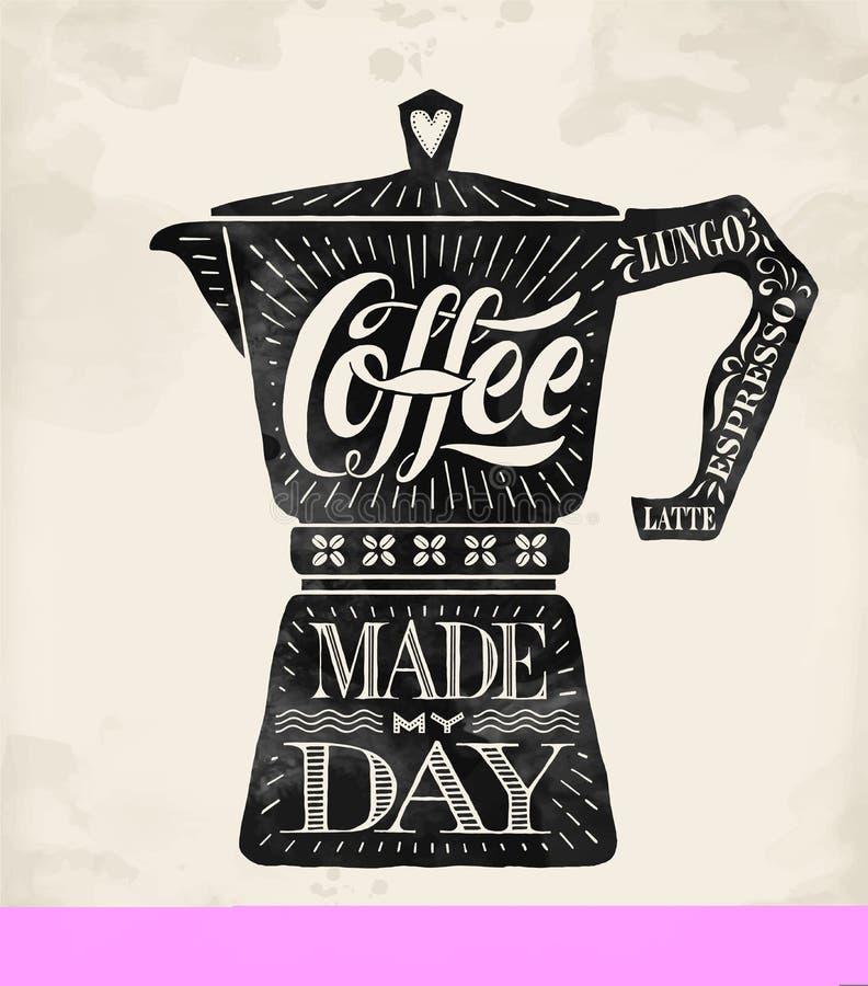 Plakatkaffee-Topf moka mit Hand gezeichneter Beschriftung stock abbildung