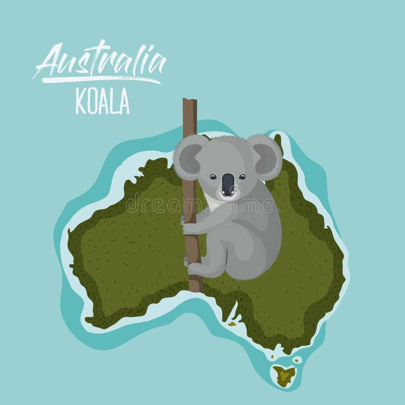 Plakatkoala in Australien-Karte im Grün umgeben durch den Ozean stock abbildung