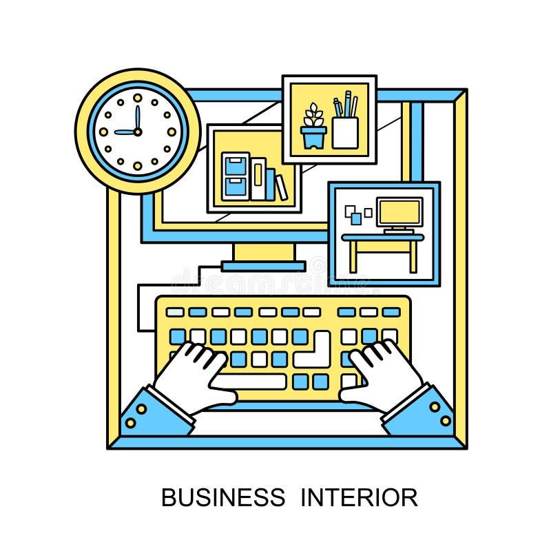 Plakatkonzept mit Ikonen des Geschäftsinnenraums über Management- und Organisationsideensymbol- und -arbeitsplatzelemente im flac vektor abbildung