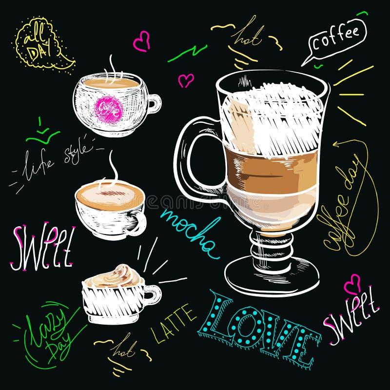 Plakatowa kawowa mokka w rocznika stylu rysunku z kredą na blackboard kawowa ilustracja z sloganem royalty ilustracja