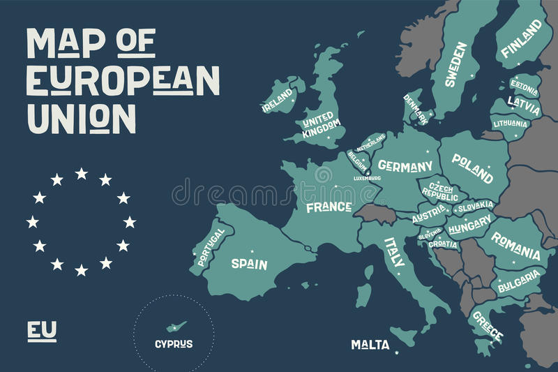Plakatowa mapa Europejski zjednoczenie z krajów imionami royalty ilustracja