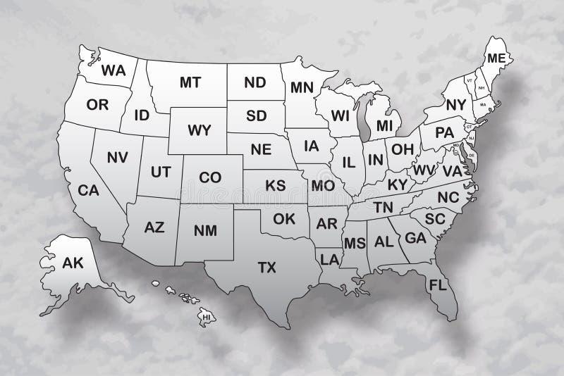Plakatowa mapa Stany Zjednoczone Ameryka z stanów imionami i cień na nieba tle ilustracji