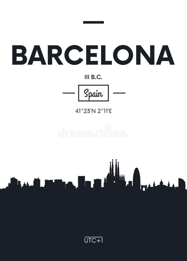 Plakatowa miasto linia horyzontu Barcelona, mieszkanie stylowa wektorowa ilustracja ilustracja wektor