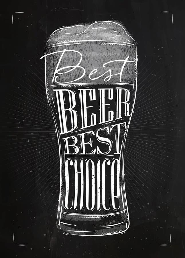 Plakatowa najlepszy piwo kreda royalty ilustracja