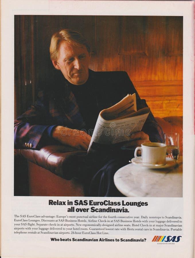 Plakatowa reklama SAS Scandinavian Airlines w magazynie od 1992, Relaksuje w SAS EuroClass holach po całym Scandinavia slogan zdjęcie stock