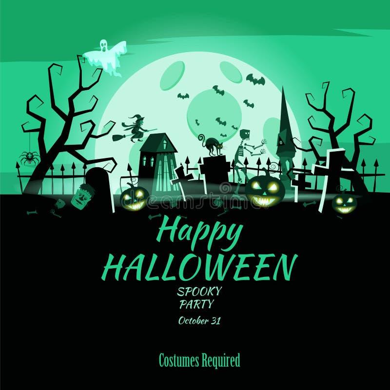 Plakatowa Szczęśliwa Halloweenowa wakacyjna bania, cmentarz, czerni zaniechanego kasztel, atrybuty wakacje Wszystkie święty, duch royalty ilustracja