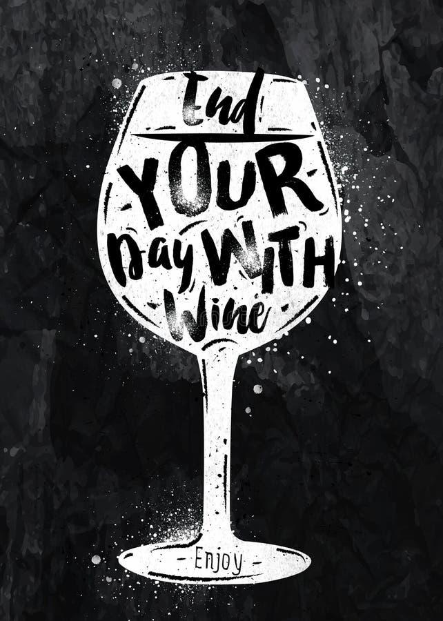 Plakatowa wino kreda ilustracji