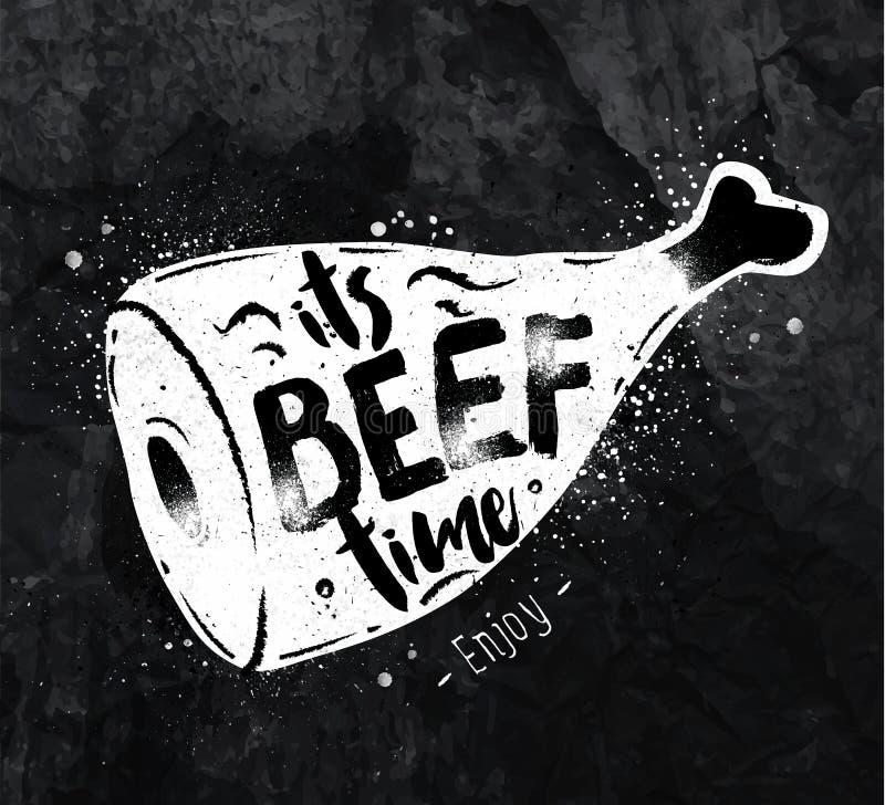 Plakatowa wołowiny kreda ilustracji