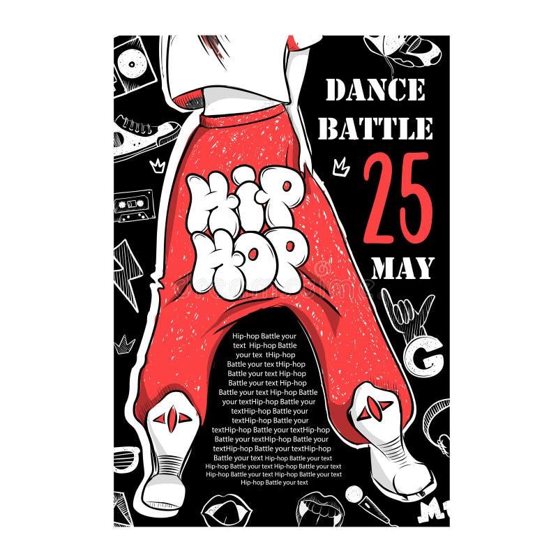 Plakatowe hip hop tana bitwy Ilustracja nogi uliczny tancerz royalty ilustracja