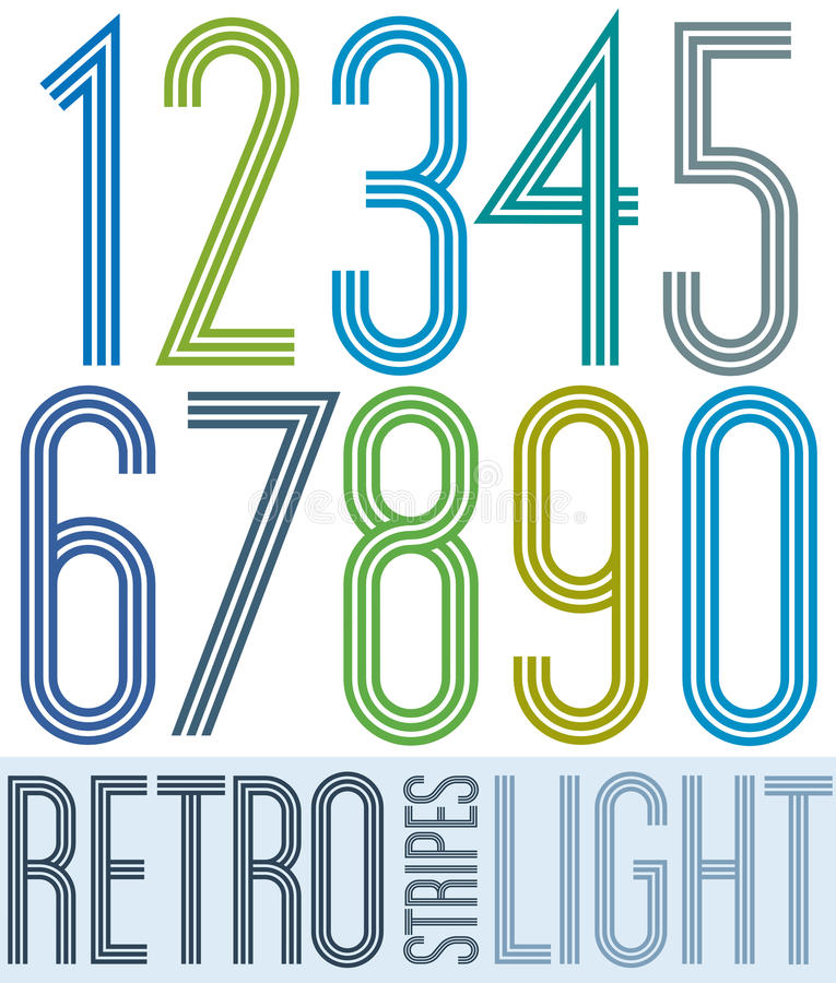 Plakatowe retro lekkie kolorowe liczby z lampasami na białym backgr ilustracja wektor