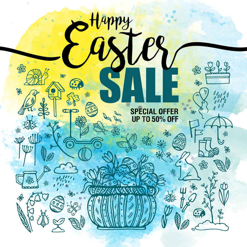 Plakatowe Szczęśliwe Wielkanocne sprzedaże, set błękitne ikony i symbole, kosz z jajkami na akwareli tle, typografia plakat ilustracja wektor