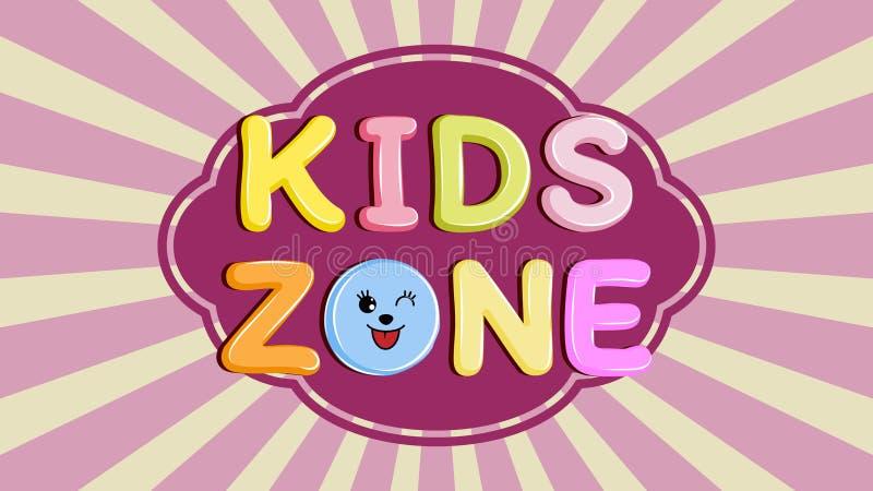 Plakatowi dzieciaki dzielą sztandar, emblemat lub loga w kreskówka stylu, royalty ilustracja