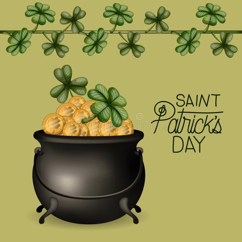 Plakatowy świątobliwy patricks dzień z kotłem pełno złociste monety i pięcie roślina koniczyny w kolorowej sylwetce ilustracji