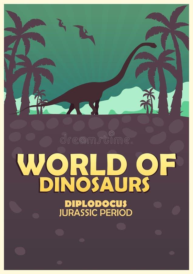 Plakatowy świat dinosaury prehistoryczny świat Diplodokus Jurajski okres royalty ilustracja
