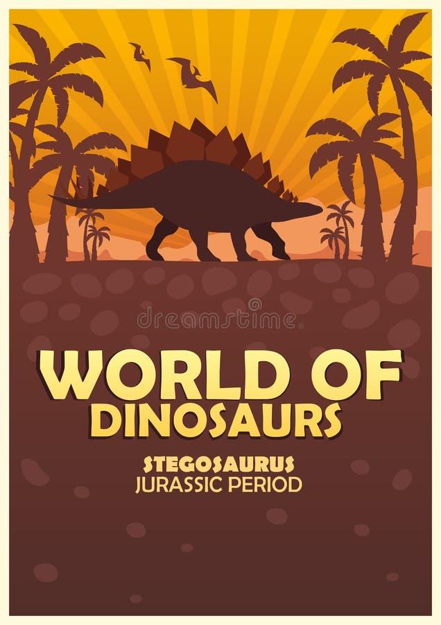 Plakatowy świat dinosaury prehistoryczny świat stegozaur Jurajski okres royalty ilustracja