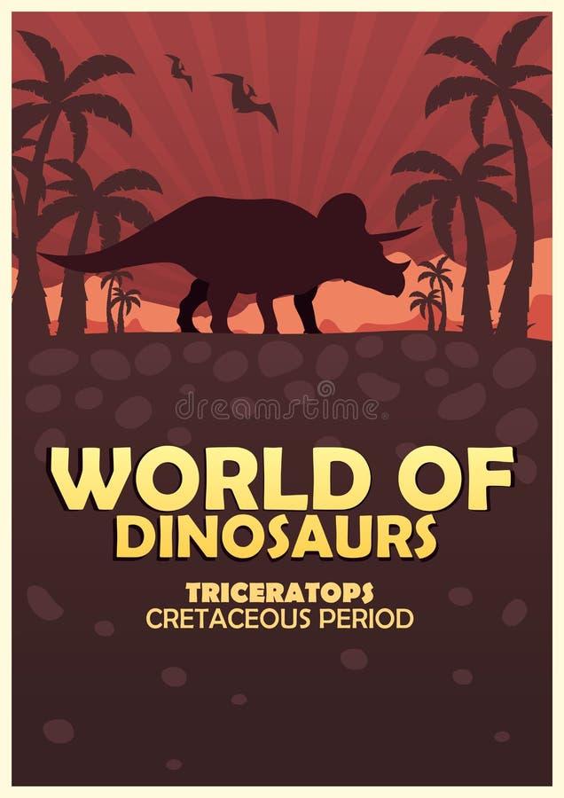 Plakatowy świat dinosaury prehistoryczny świat triceratops Cretaceous okres ilustracja wektor