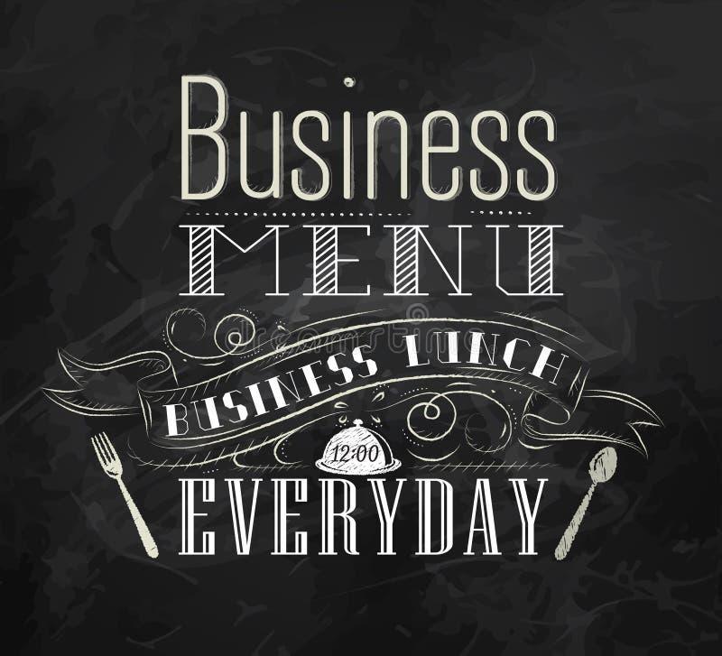 Plakatowy Biznesowy menu. Kreda. ilustracji