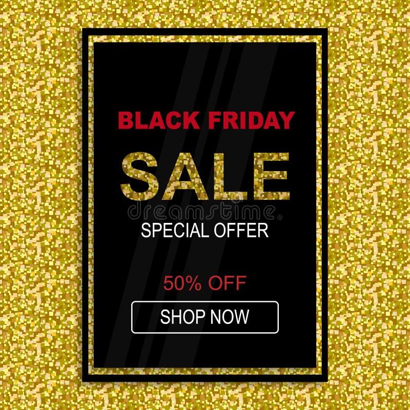 Plakatowy Black Friday specjalnej oferty sprzedaży szablonu tło royalty ilustracja