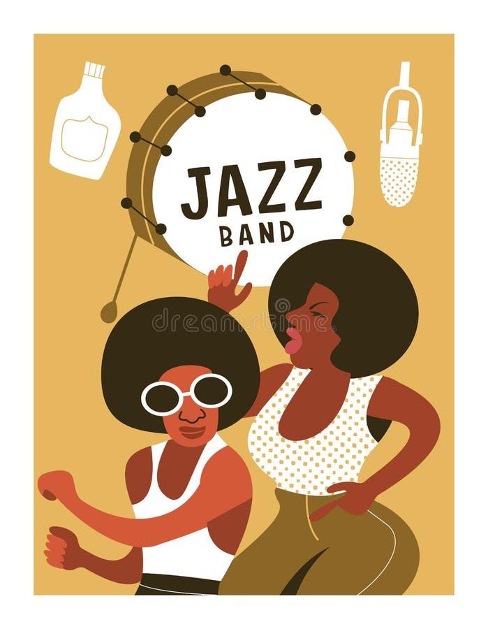Plakatowy festiwal muzyki, retro przyjęcie w stylu 70's, 80s w dyskoteka stylu Para tanczy dyskotekę z Afrykańskimi fryzurami ilustracji