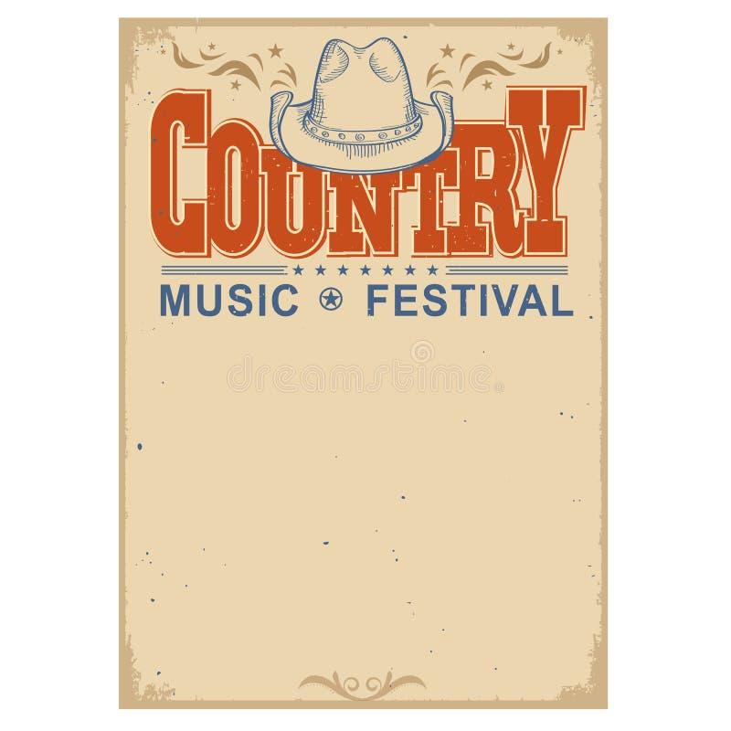 Plakatowy festiwalu muzyki tło z kowbojskim kapeluszem Wektor Odizolowywający ilustracji